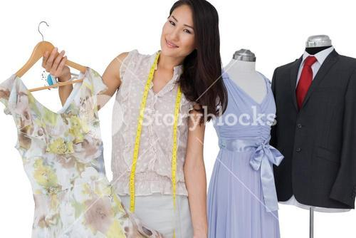 Portrait of a female fashion designer and clothing