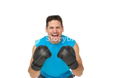 Portrait of a determined male boxer screaming