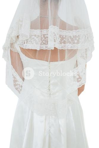 Woman in wedding dress and veil over white background