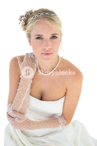 Confident bride with hand on shoulder