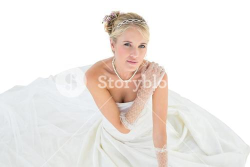 Elegant bride with hand on shoulder