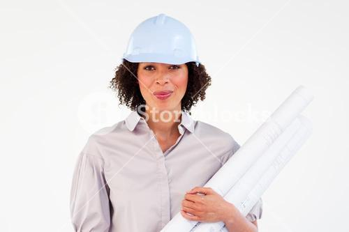 Engineer woman holding blueprints