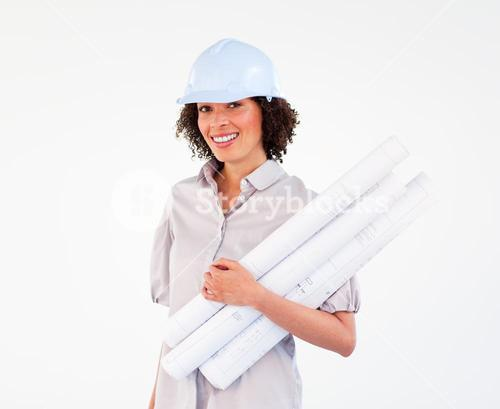 Brunette architect woman with plans and hardhats