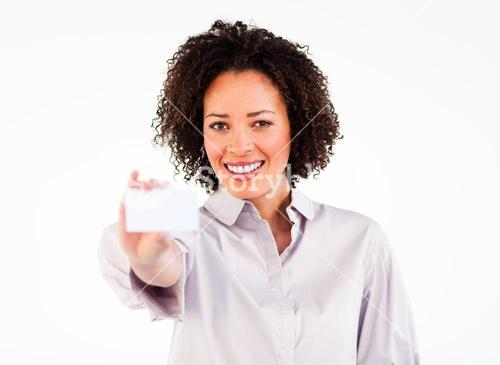 Friendly businesswoman showing white businesscard
