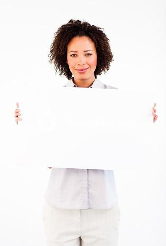 Friendly businesswoman holding big businesscard