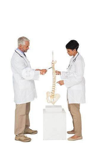 Side view of two doctors pointing at skeleton model