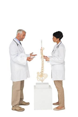 Two doctors discussing besides skeleton model