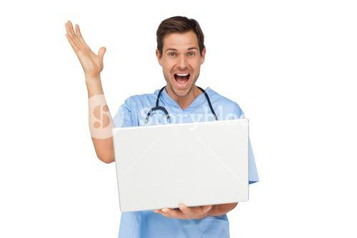 Portrait of a male surgeon with laptop shouting