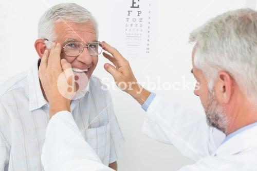 Man wearing glasses after taking vision test at doctor