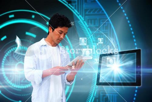 Casual man using tablet with profile icons