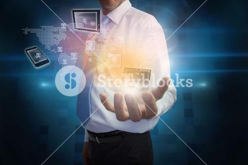 Businessman presenting interface with connecting devices