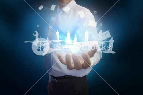 Businessman presenting map with email and human representations