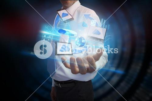 Businessman presenting file transfer interface