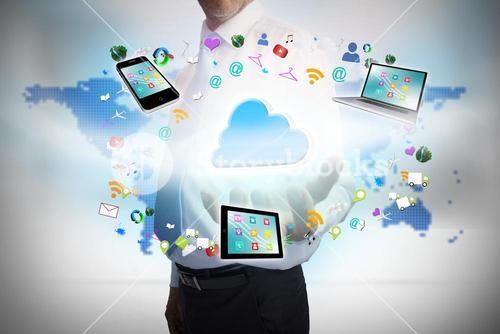Businessman presenting cloud computing graphic