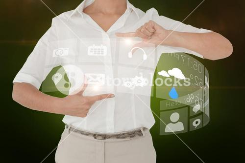 Businesswoman showing interface