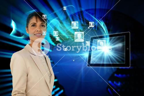 Businesswoman with profile icons and tablet