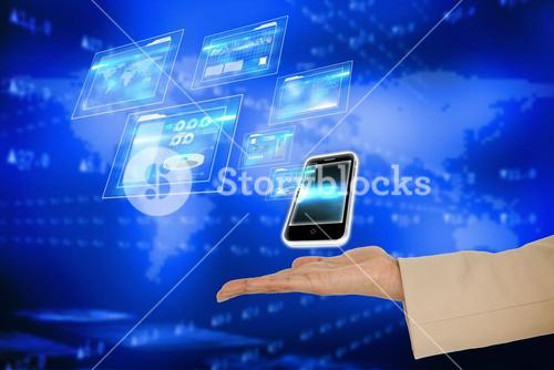 Hand presenting smartphone and interfaces