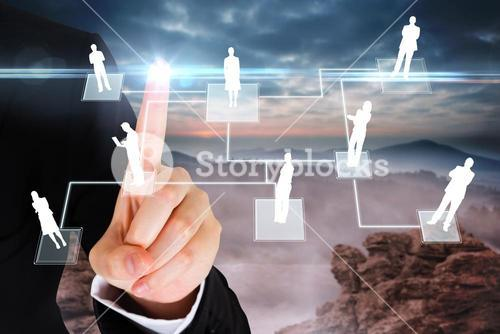 Finger pointing to business people graphic