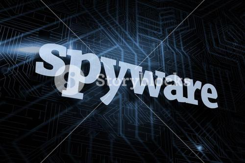 Spyware against futuristic black and blue background