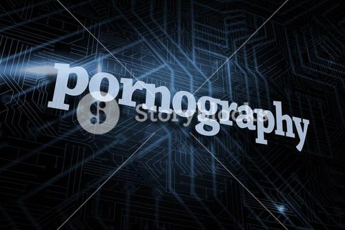 Pornography against futuristic black and blue background