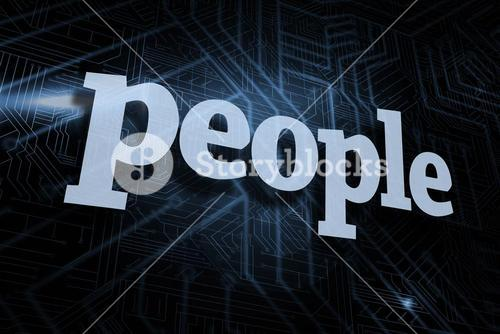 People against futuristic black and blue background