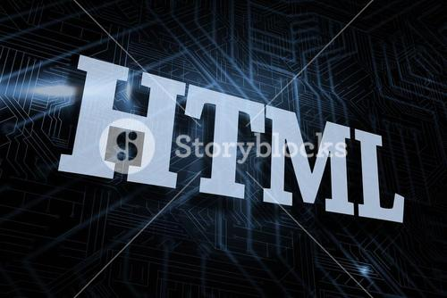 Html against futuristic black and blue background