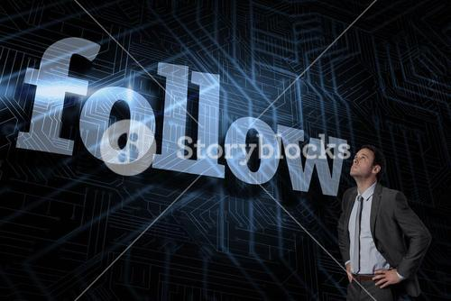 Follow against futuristic black and blue background