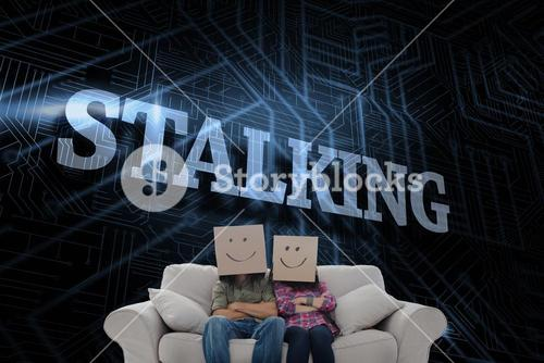 Stalking against futuristic black and blue background