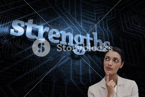 Strengths against futuristic black and blue background