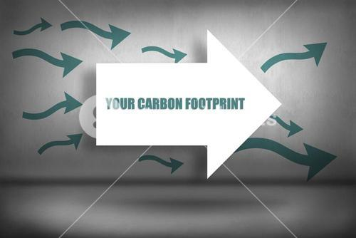 Your carbon footprint against arrows pointing