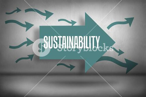 Sustainability against arrows pointing