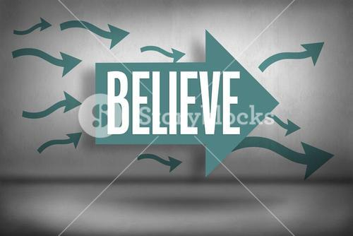 Believe against arrows pointing