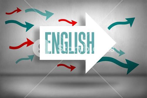 English against arrows pointing
