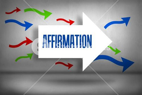 Affirmation against arrows pointing