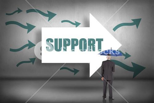 Support against arrows pointing