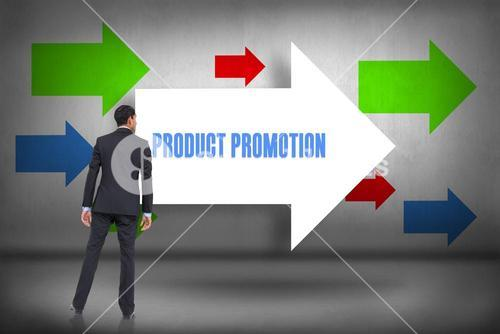 Product promotion against arrows pointing