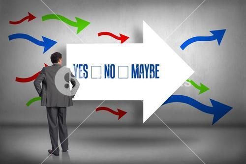 Yes no maybe against arrows pointing