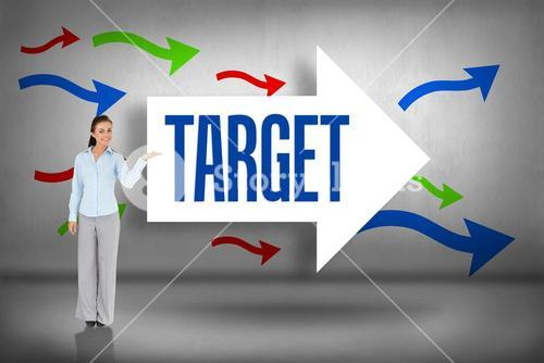 Target against arrows pointing