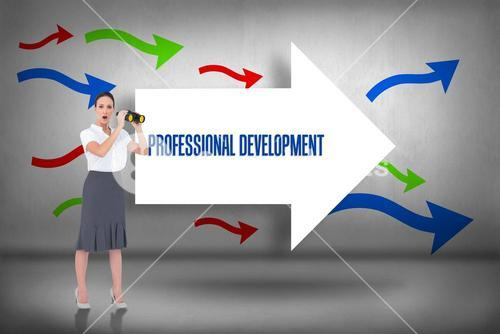 Professional development against arrows pointing