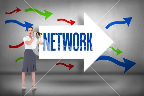 Network against arrows pointing