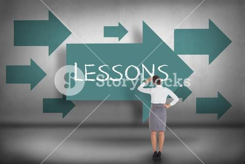 Lessons against blue arrows pointing