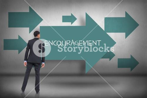 Encouragement against blue arrows pointing