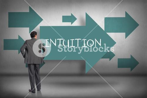 Intuition against blue arrows pointing