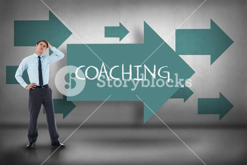 Coaching against blue arrows pointing