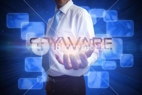 Businessman presenting the word spyware