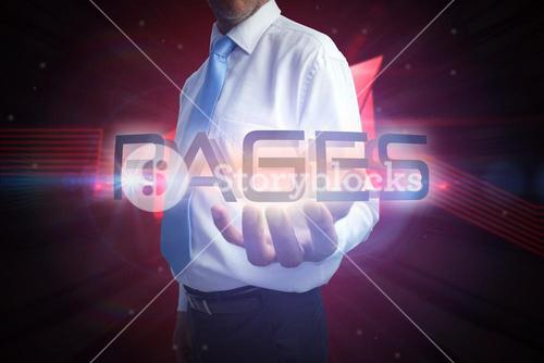 Businessman presenting the word pages