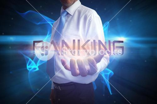 Businessman presenting the word ranking