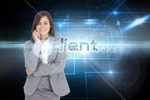Client against black background with shiny squares