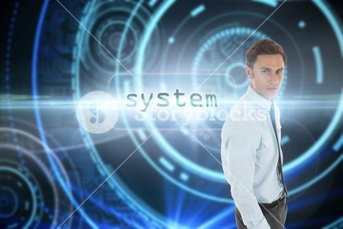 System against futuristic technological background
