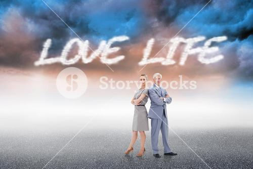 Love life against cloudy landscape background